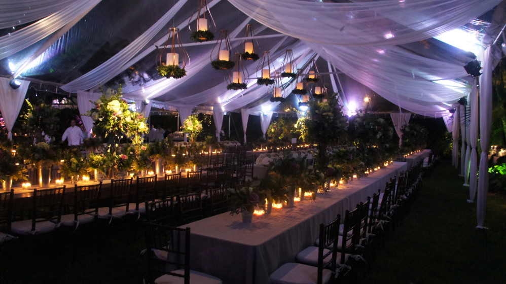 ceiling draping ideas for weddings - 9 Great Party Tent Lighting Ideas For Outdoor Events
