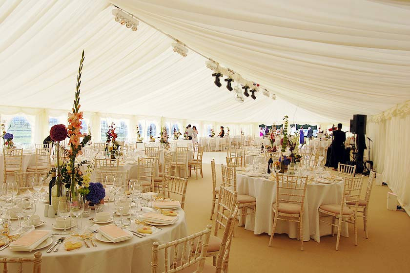 how to decorate a wedding tent on a budget